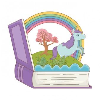 Livro e personagem de ilustração em vetor design de conto de fadas