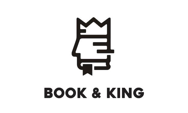 Livro e rei design de logotipo