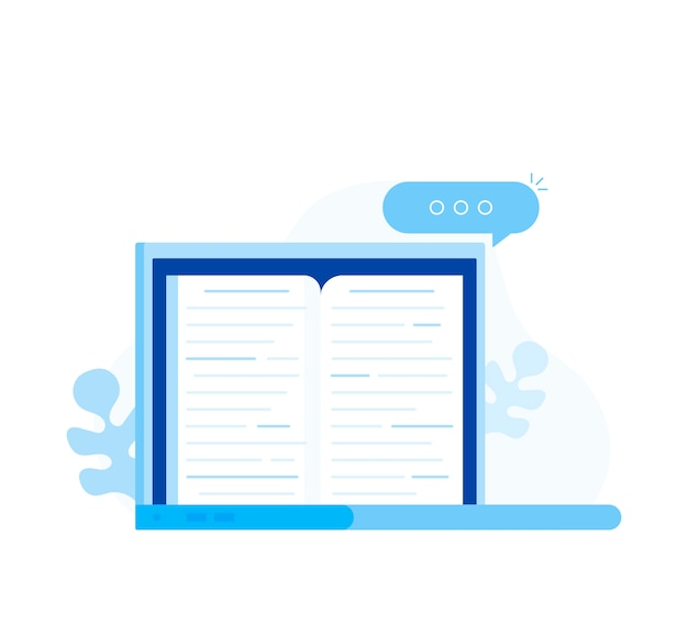 Livro eletrônico, conceito de leitura digital, aprendizado na internet e biblioteca de livros eletrônicos
