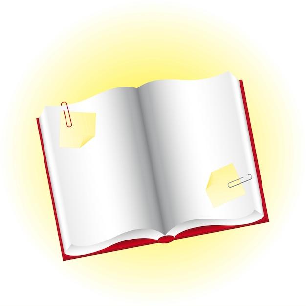 Livro em branco com papéis amarelos e ilustração vetorial de clipes
