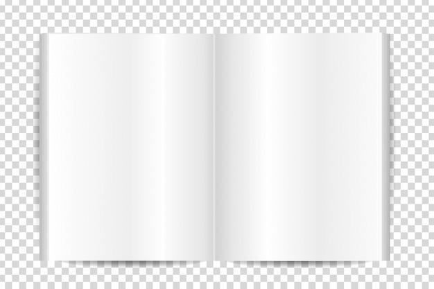Livro em branco realista para decoração no fundo transparente.