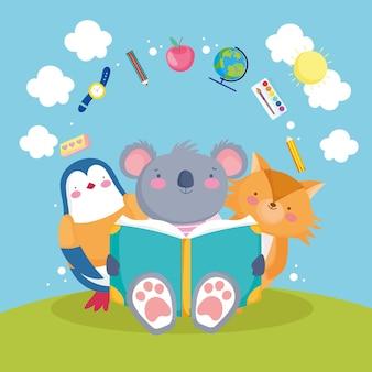 Livro escolar de animais