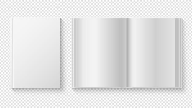 Livro fechado e aberto. folhas de papel branco realistas, diário ou planejador