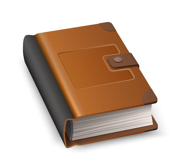 Livro fechado realista em capa dura de couro