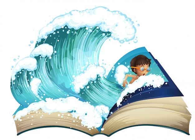 Livro gigante com menino nadando no oceano