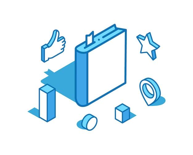 Livro ilustração isométrica de linha azul literatura diário modelo de banner 3d
