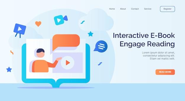 Livro interativo e envolver a leitura para o modelo de página de aterrissagem de página inicial de site web campanha com design de estilo plano moderno de cor cheia.