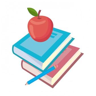 Livro isolado e apple de ilustração em vetor escola design