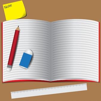 Livro lápis borracha nota espaço