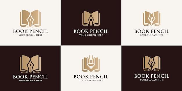 Livro lápis de inspiração logotipo para símbolo educacional