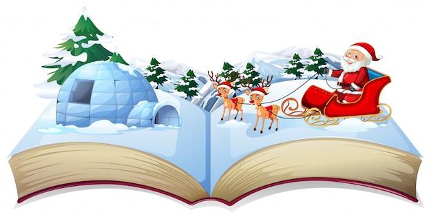 Livro mágico de natal aberto com papai noel