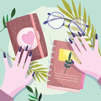 Livro mãos femininas com livros e ilustração de óculos