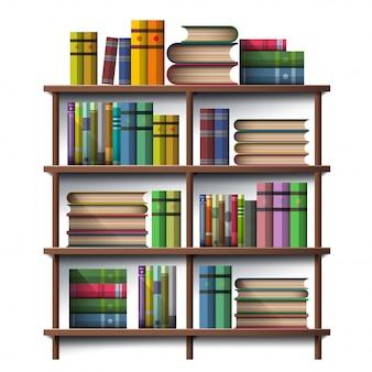 Livro na prateleira de madeira