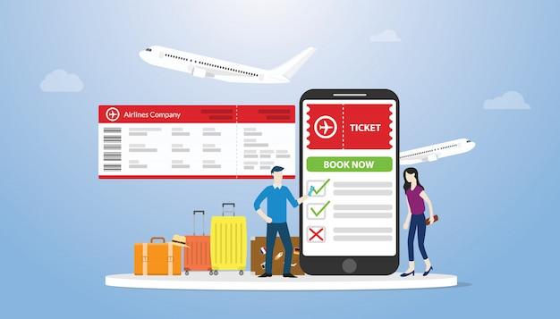 Livro on-line ou bilhetes de reserva para o conceito airflight com app smartphone com pessoas encomendar on-line bilhete