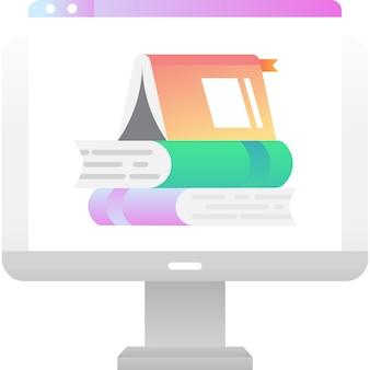 Livro online no ícone de vetor da tela do computador