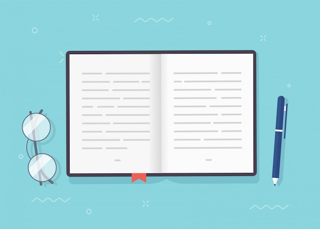 Livro ou bloco de notas abre páginas com texto, caderno ou papel de livro didático com marcador e caneta