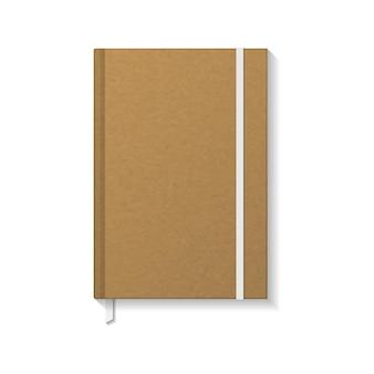 Livro ou caderno de papel kraft em branco com elástico branco e modelo de maquete de marcador de fita