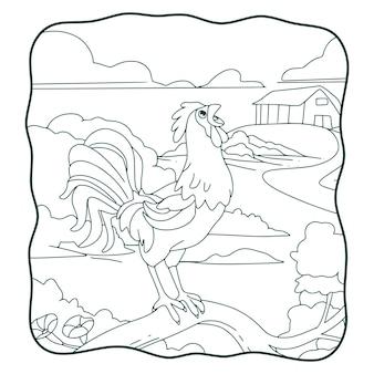 Livro ou página para crianças cantando galo de desenho animado em preto e branco