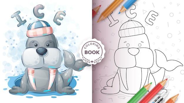 Livro para colorir adorável animal morsa personagem de desenho animado