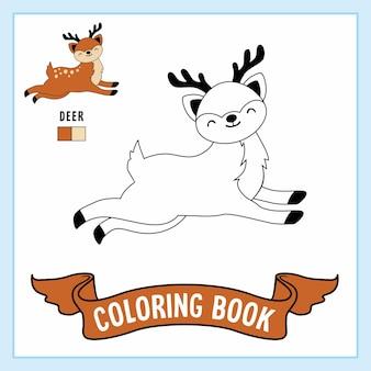 Livro para colorir animais de cervos