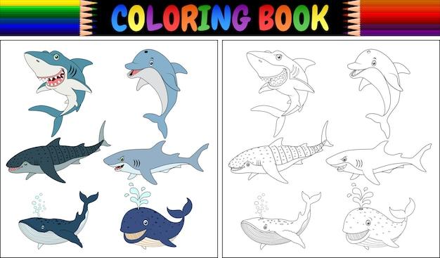 Livro para colorir com coleção de animais marinhos