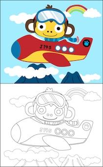 Livro para colorir com piloto engraçado