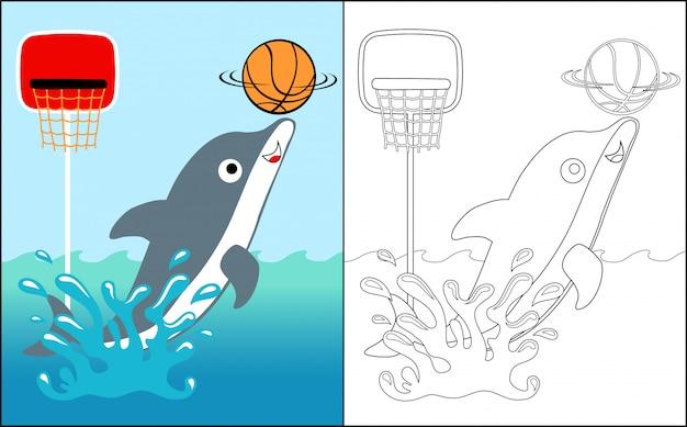Livro para colorir com show de circo de golfinhos