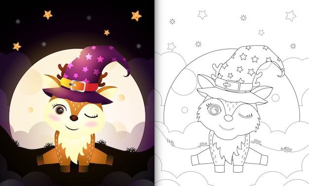 Livro para colorir com um desenho fofo veado bruxa de halloween em frente à lua