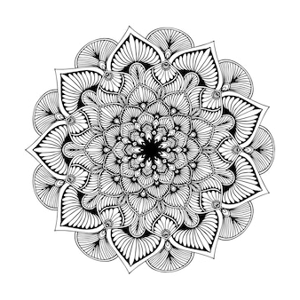 Livro para colorir das mandalas, forma da flor, terapia oriental, vetor dos logotipos da ioga.