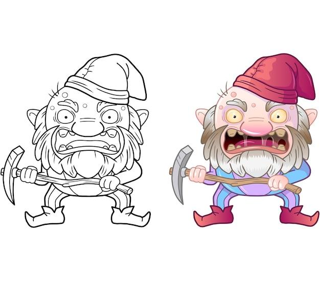 Livro para colorir de gnomo malvado de desenho animado Vetor Premium