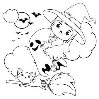 Livro para colorir de halloween, menina fofa bruxa 11