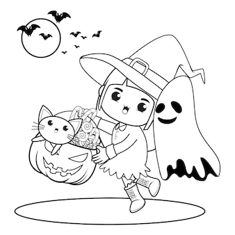Livro para colorir de halloween, menina fofa bruxa 13