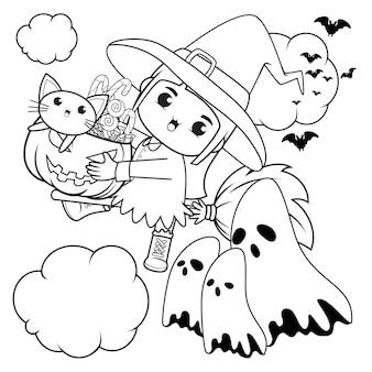 Livro para colorir de halloween, menina fofa bruxa 15
