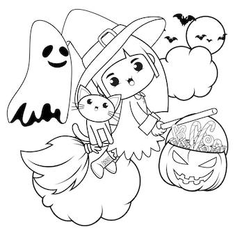 Livro para colorir de halloween, menina fofa bruxa 17