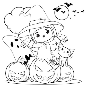 Livro para colorir de halloween menina fofa bruxa 18