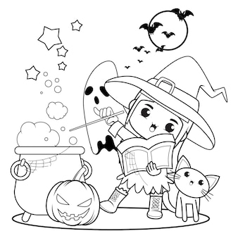 Livro para colorir de halloween, menina fofa bruxa 19