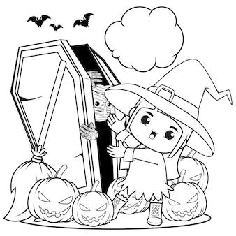 Livro para colorir de halloween, menina fofa bruxa 4