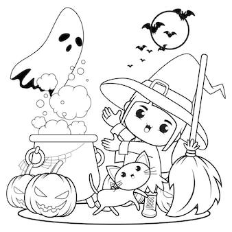 Livro para colorir de halloween, menina fofa bruxa 9