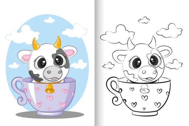 Livro para colorir ilustração educacional de vaca