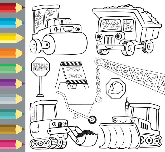 Livro para colorir ou desenhos animados engraçados de veículos de construção