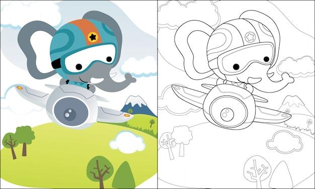 Livro para colorir ou página com desenho de elefante engraçado no avião