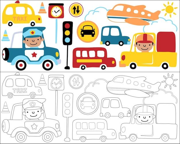 Livro para colorir ou página com desenhos animados de equipamentos de transporte