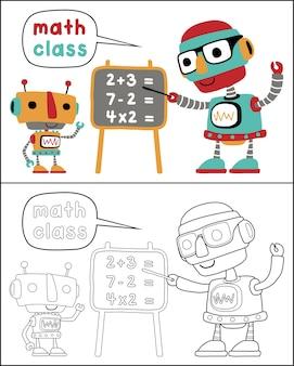 Livro para colorir ou página com desenhos animados de robôs inteligentes