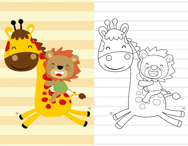 Livro para colorir ou página com passeio de leão na girafa