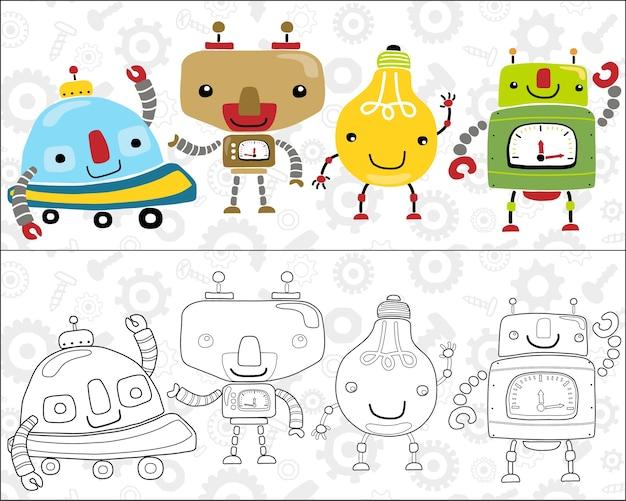 Livro para colorir ou página com robôs coloridos engraçados