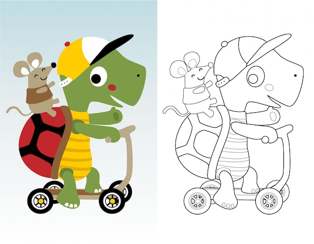 Livro para colorir ou página com tartaruga engraçada