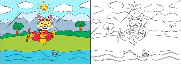 Livro para colorir ou página de desenho animado de coelho dirigindo um avião
