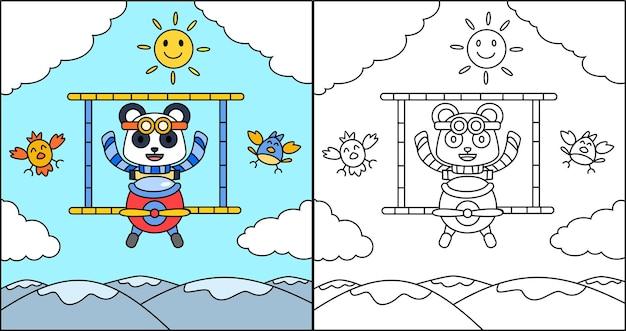 Livro para colorir ou página de desenho animado panda dirigindo um avião