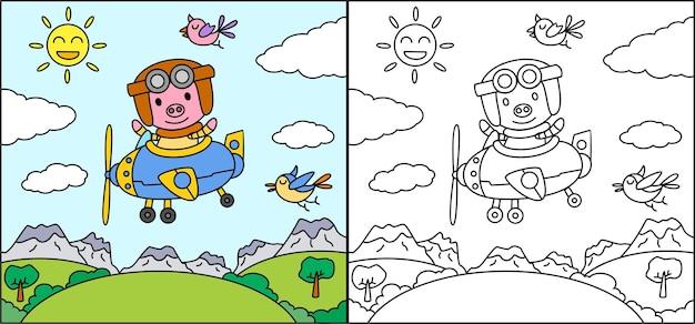 Livro para colorir ou página de desenho animado porco dirigindo um avião