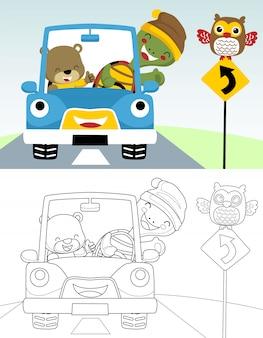 Livro para colorir ou página de desenhos animados de carro engraçado com animais fofos